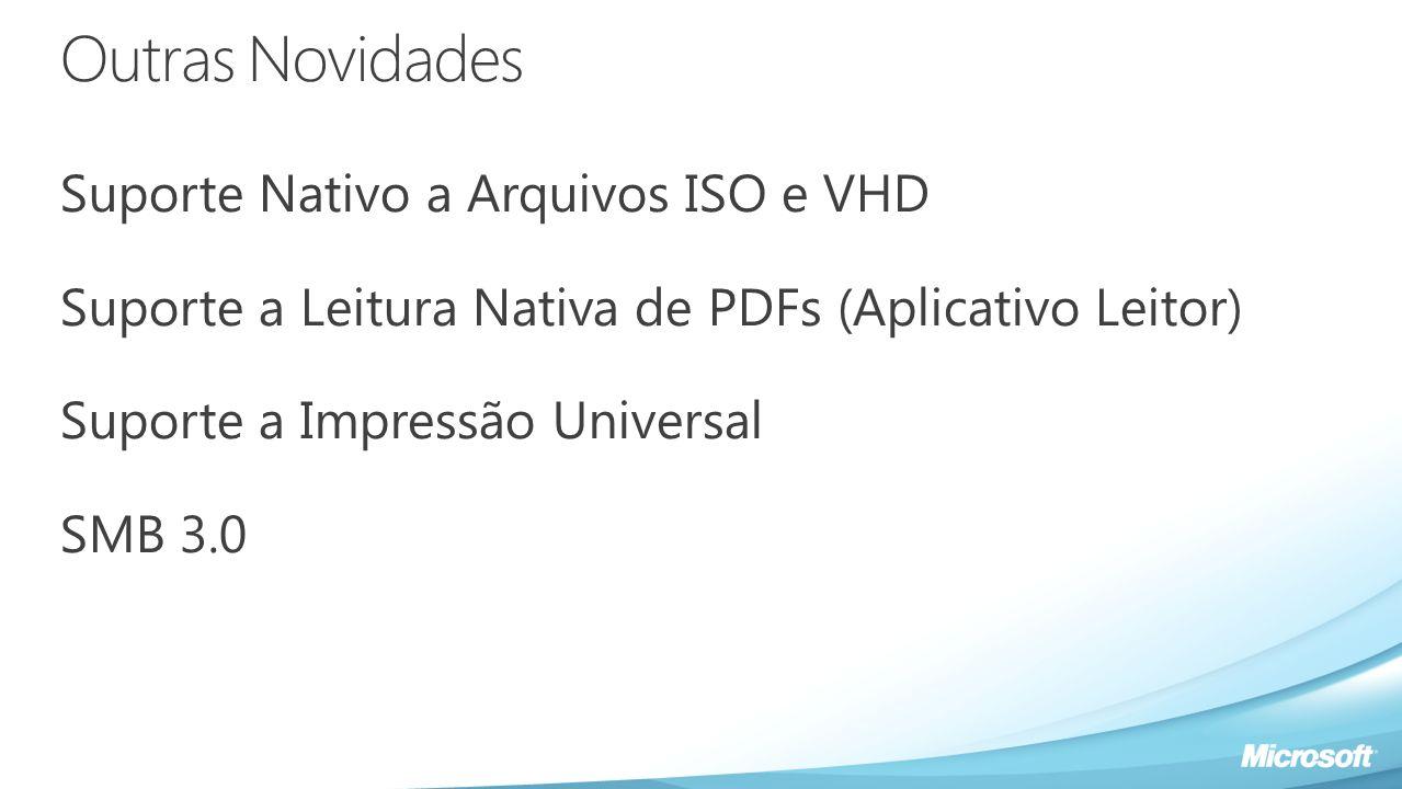 Outras Novidades Suporte Nativo a Arquivos ISO e VHD Suporte a Leitura Nativa de PDFs (Aplicativo Leitor) Suporte a Impressão Universal SMB 3.0