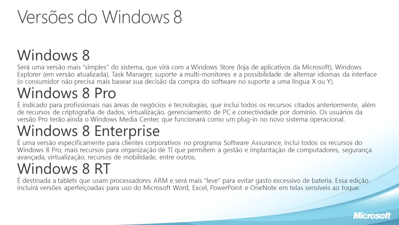 Versões do Windows 8 Windows 8 Será uma versão mais simples do sistema, que virá com a Windows Store (loja de aplicativos da Microsoft), Windows Explo