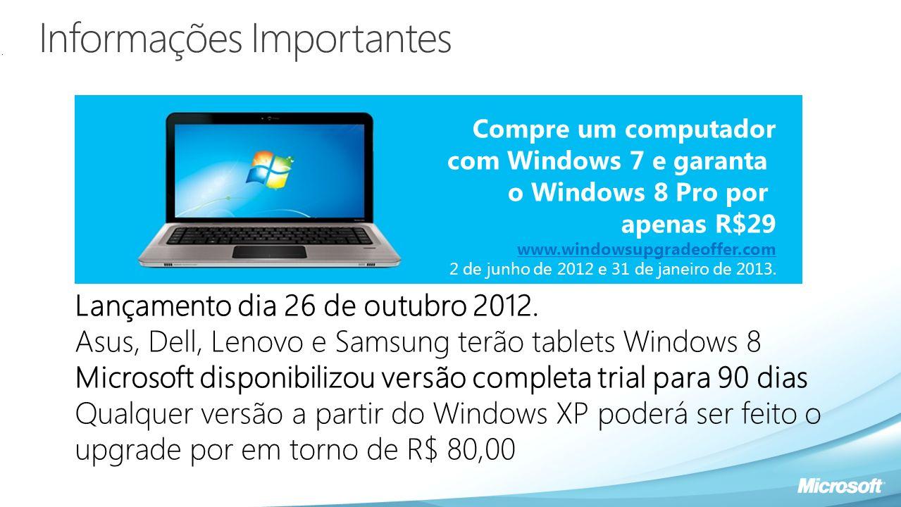 Informações Importantes Compre um computador com Windows 7 e garanta o Windows 8 Pro por apenas R$29 www.windowsupgradeoffer.com 2 de junho de 2012 e