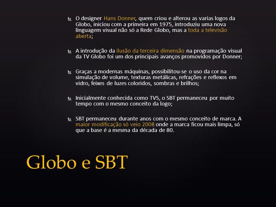 O designer Hans Donner, quem criou e alterou as varias logos da Globo, iniciou com a primeira em 1975, introduziu uma nova linguagem visual não só a R