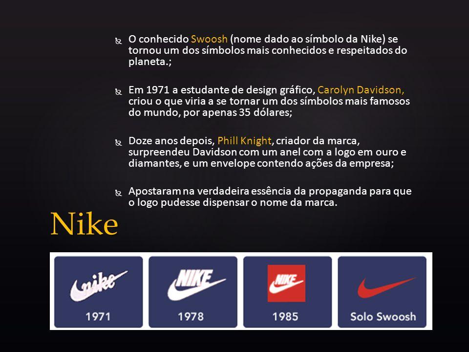 O conhecido Swoosh (nome dado ao símbolo da Nike) se tornou um dos símbolos mais conhecidos e respeitados do planeta.; Em 1971 a estudante de design g
