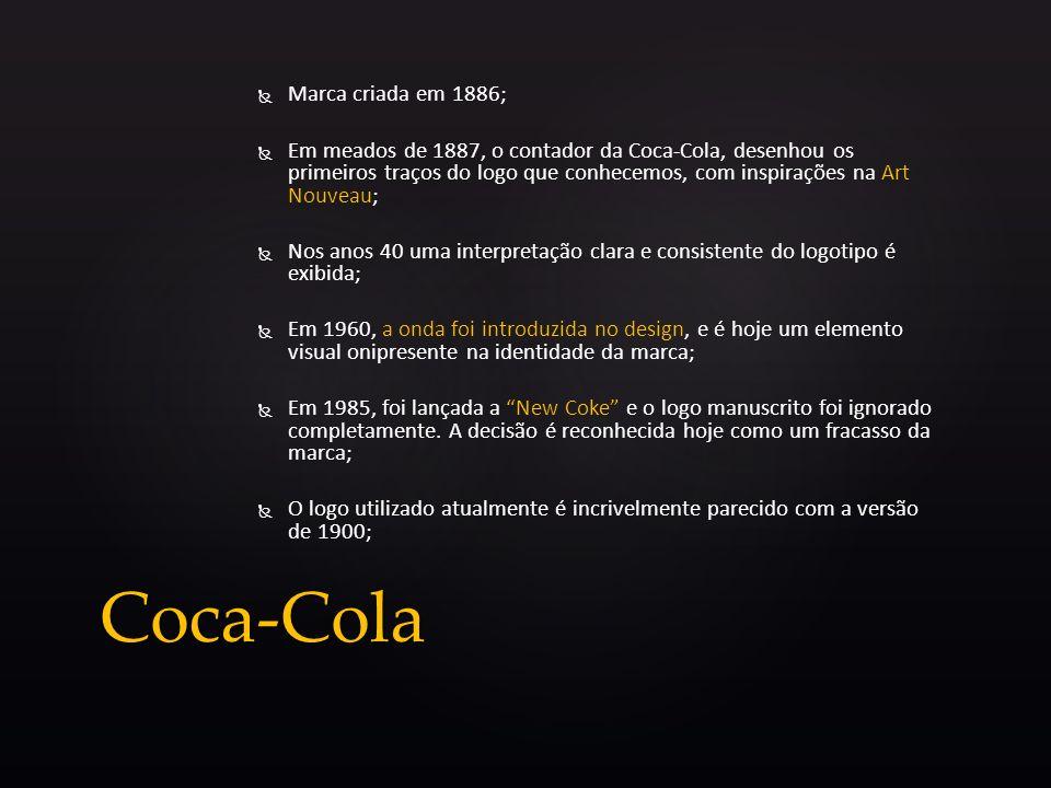 Marca criada em 1886; Em meados de 1887, o contador da Coca-Cola, desenhou os primeiros traços do logo que conhecemos, com inspirações na Art Nouveau;