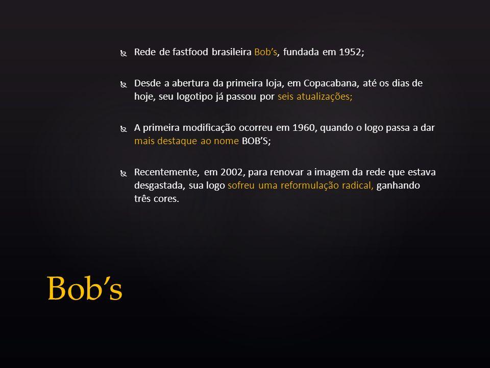 Rede de fastfood brasileira Bobs, fundada em 1952; Desde a abertura da primeira loja, em Copacabana, até os dias de hoje, seu logotipo já passou por s