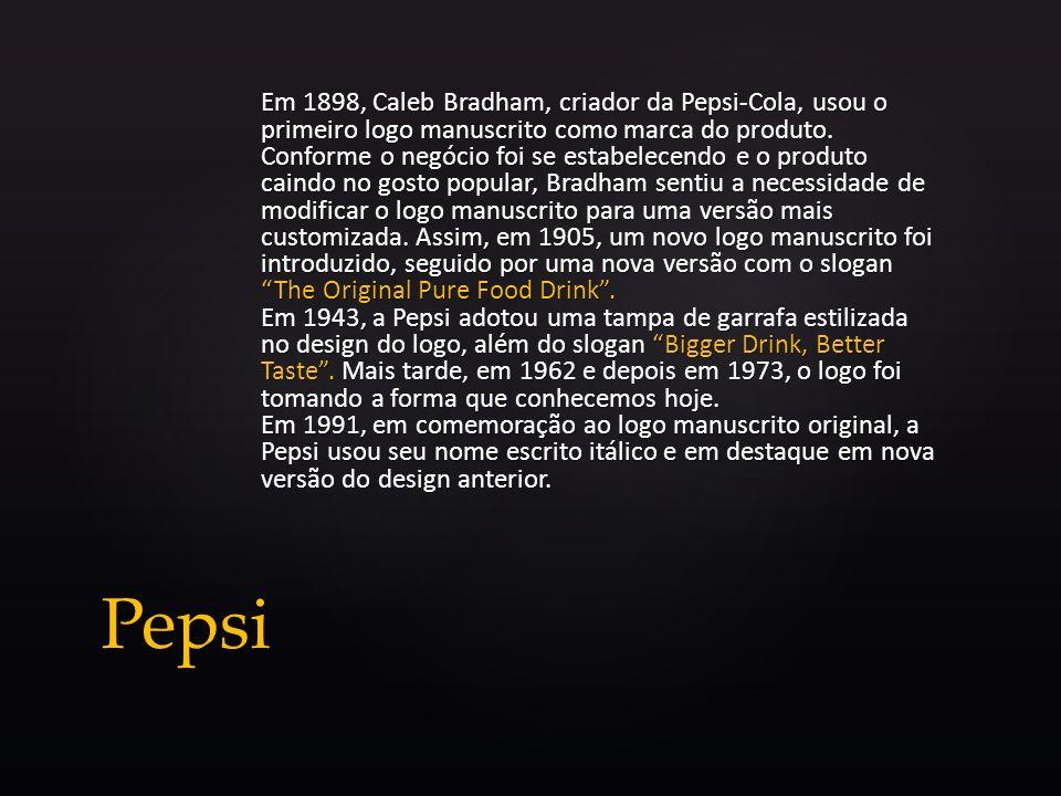 Em 1898, Caleb Bradham, criador da Pepsi-Cola, usou o primeiro logo manuscrito como marca do produto. Conforme o negócio foi se estabelecendo e o prod