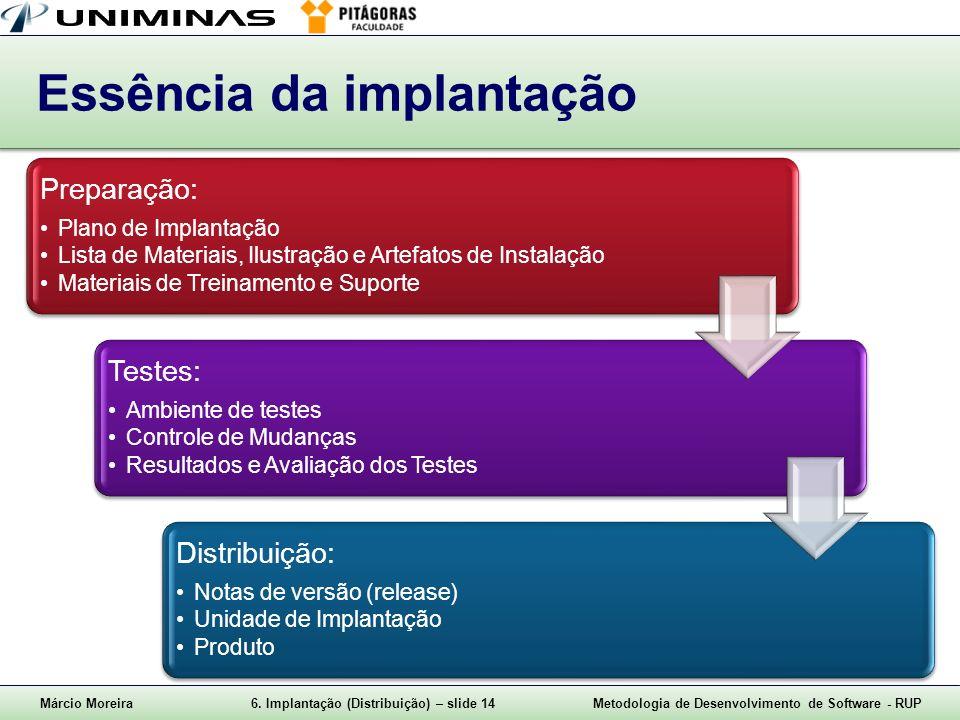 Márcio Moreira6. Implantação (Distribuição) – slide 14Metodologia de Desenvolvimento de Software - RUP Essência da implantação Preparação: Plano de Im