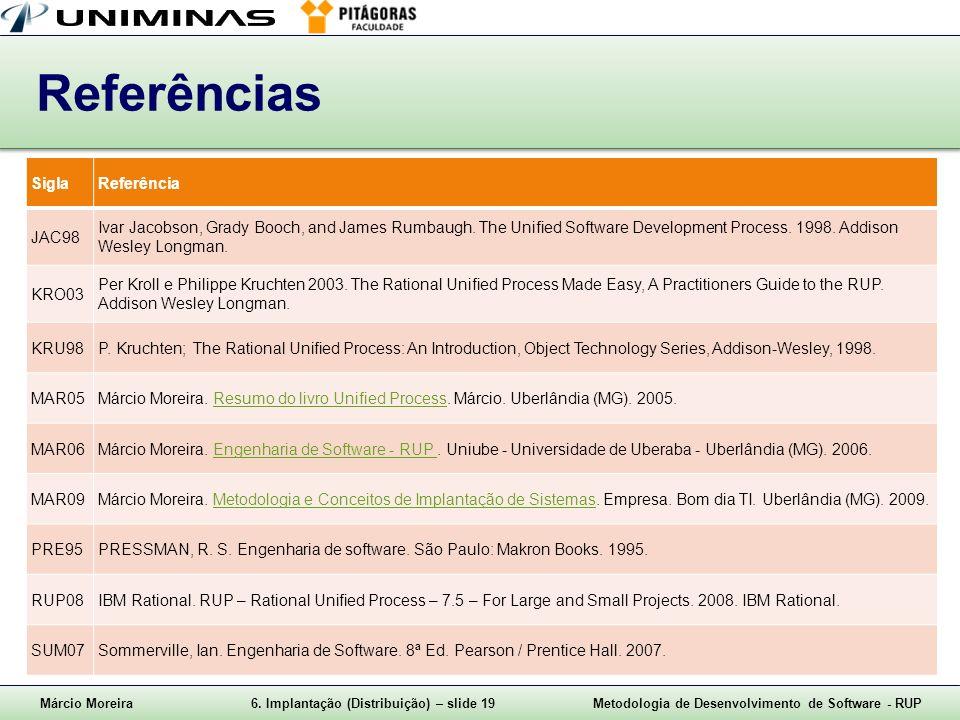 Márcio Moreira6. Implantação (Distribuição) – slide 19Metodologia de Desenvolvimento de Software - RUP Referências SiglaReferência JAC98 Ivar Jacobson
