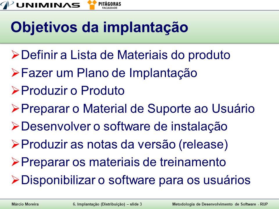 Márcio Moreira6. Implantação (Distribuição) – slide 3Metodologia de Desenvolvimento de Software - RUP Objetivos da implantação Definir a Lista de Mate