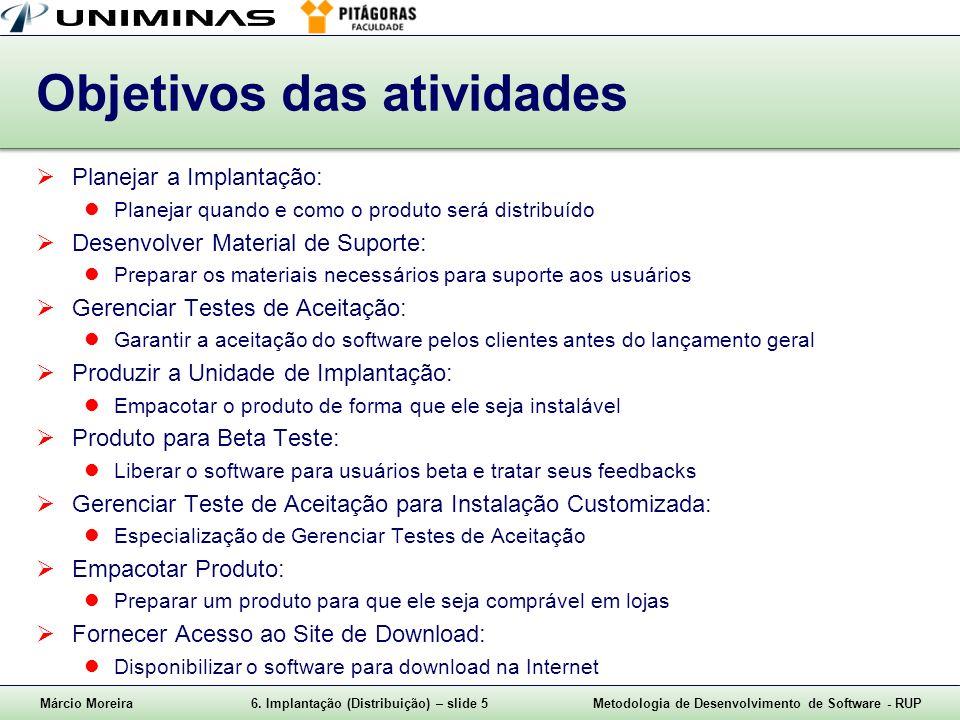 Márcio Moreira6. Implantação (Distribuição) – slide 5Metodologia de Desenvolvimento de Software - RUP Objetivos das atividades Planejar a Implantação: