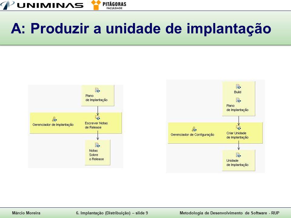 Márcio Moreira6. Implantação (Distribuição) – slide 9Metodologia de Desenvolvimento de Software - RUP A: Produzir a unidade de implantação