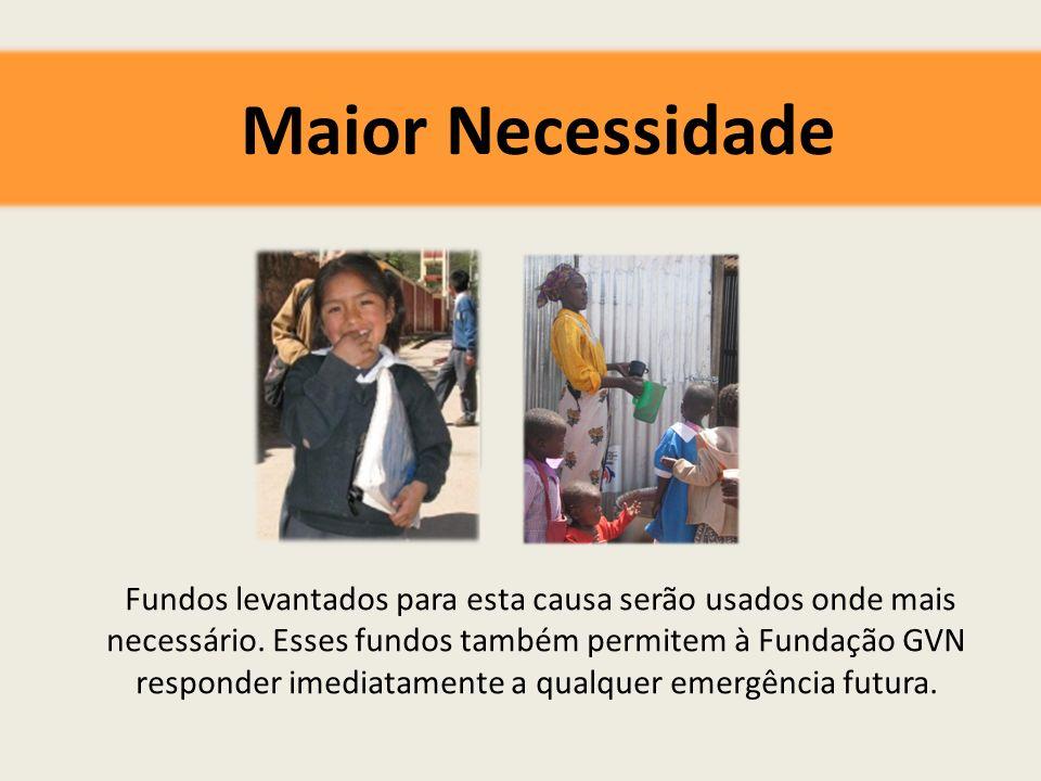 Maior Necessidade Fundos levantados para esta causa serão usados onde mais necessário.