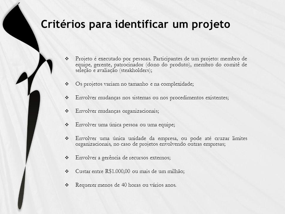 Critérios para identificar um projeto Projeto é executado por pessoas. Participantes de um projeto: membro de equipe, gerente, patrocinador (dono do p