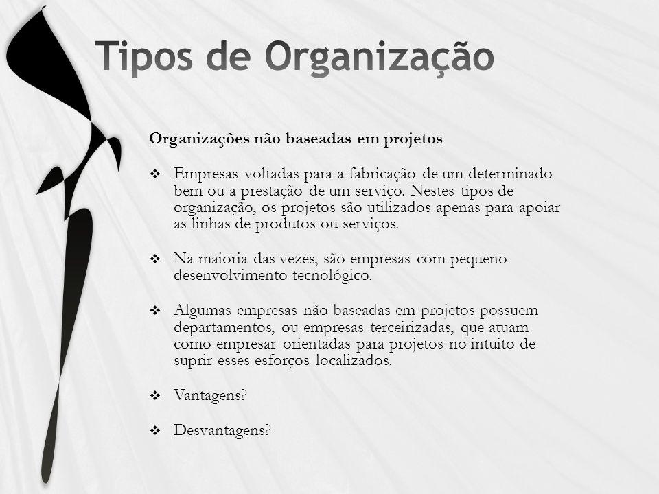 Organizações não baseadas em projetos Empresas voltadas para a fabricação de um determinado bem ou a prestação de um serviço. Nestes tipos de organiza