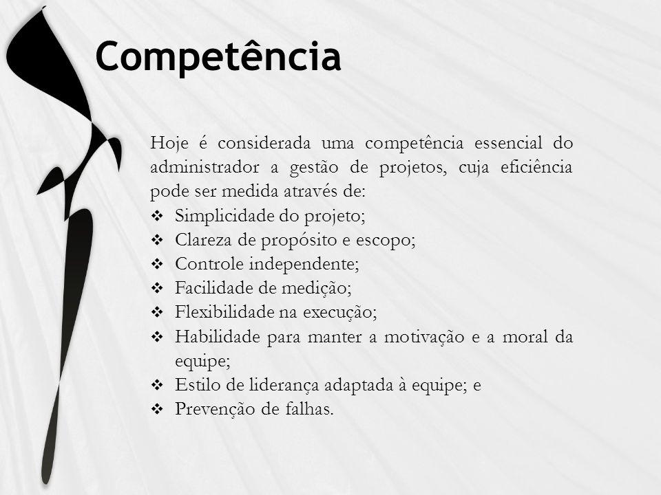 Competência Hoje é considerada uma competência essencial do administrador a gestão de projetos, cuja eficiência pode ser medida através de: Simplicida