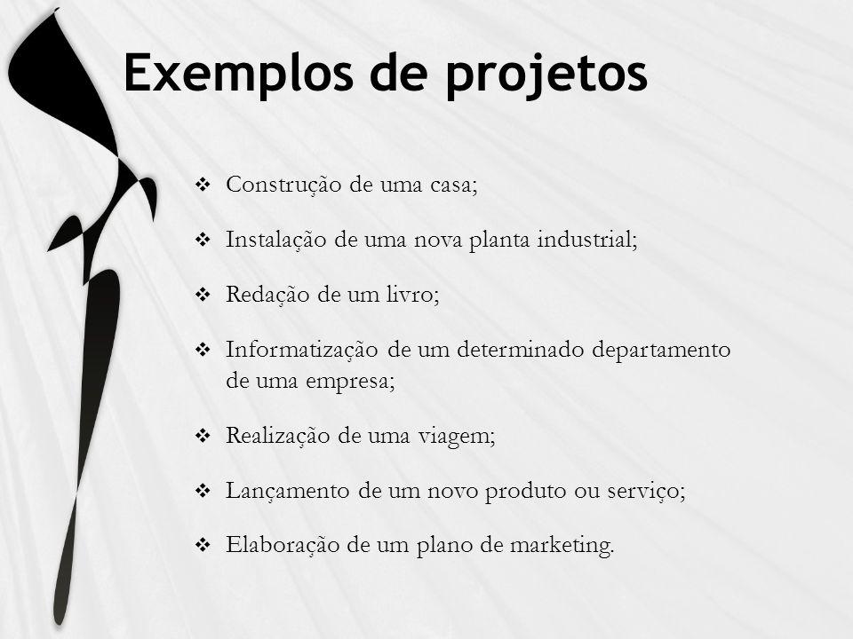 Exemplos de projetos Construção de uma casa; Instalação de uma nova planta industrial; Redação de um livro; Informatização de um determinado departame