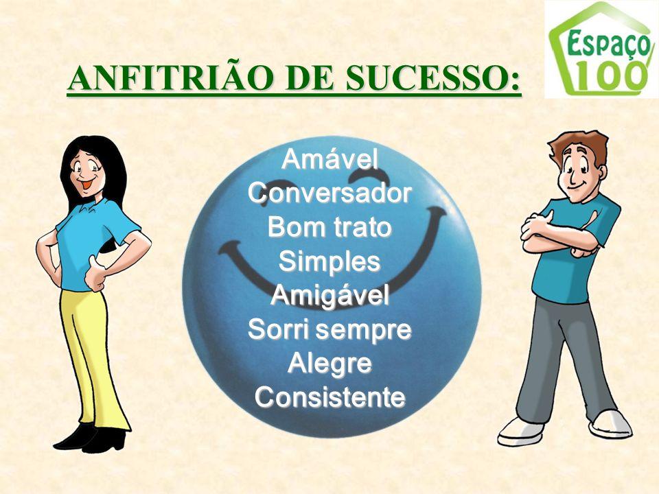 AmávelConversador Bom trato SimplesAmigável Sorri sempre AlegreConsistente ANFITRIÃO DE SUCESSO: