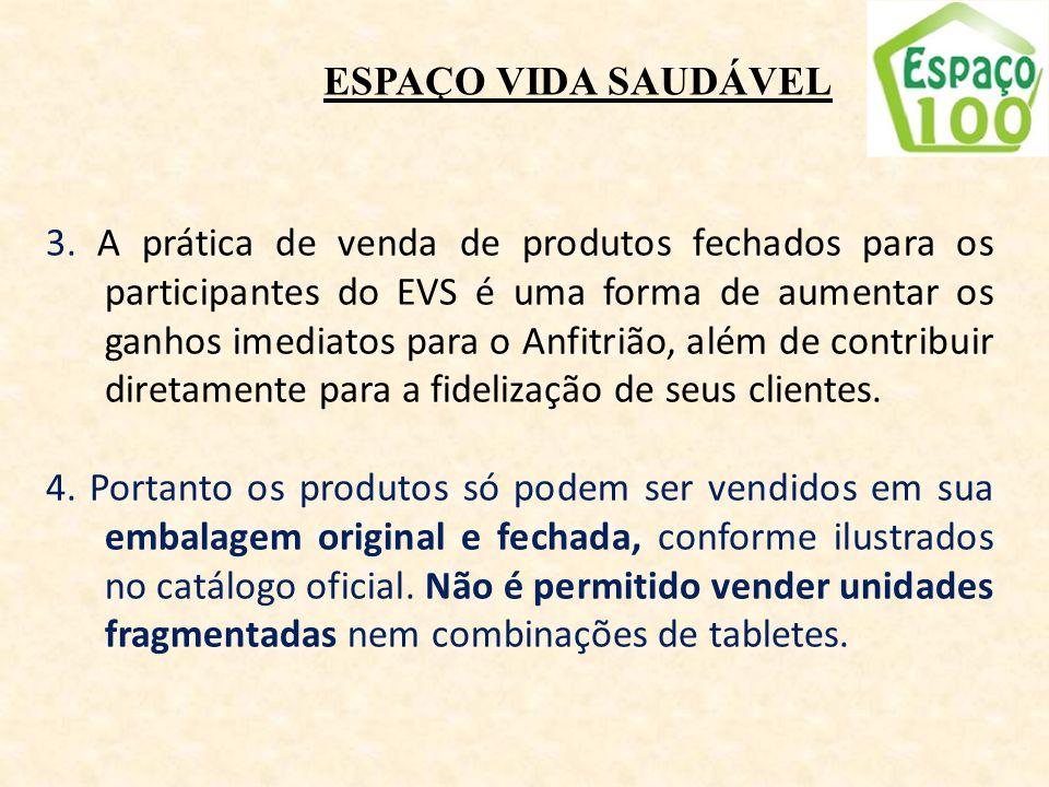 ESPAÇO VIDA SAUDÁVEL 3. A prática de venda de produtos fechados para os participantes do EVS é uma forma de aumentar os ganhos imediatos para o Anfitr