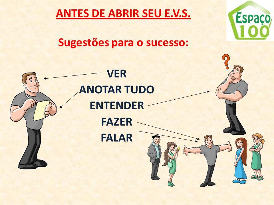 ANTES DE ABRIR SEU E.V.S. Sugestões para o sucesso: VER ANOTAR TUDO ENTENDER FAZER FALAR