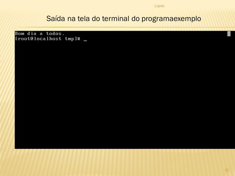 Lopes 10 Saída na tela do terminal do programaexemplo