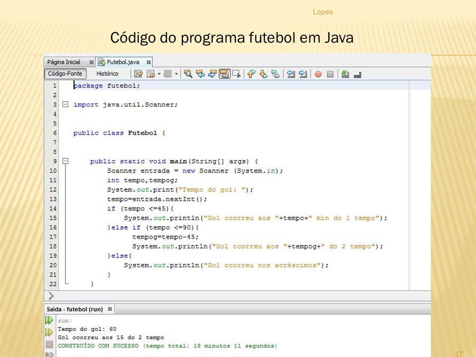 Lopes 17 Código do programa futebol em Java