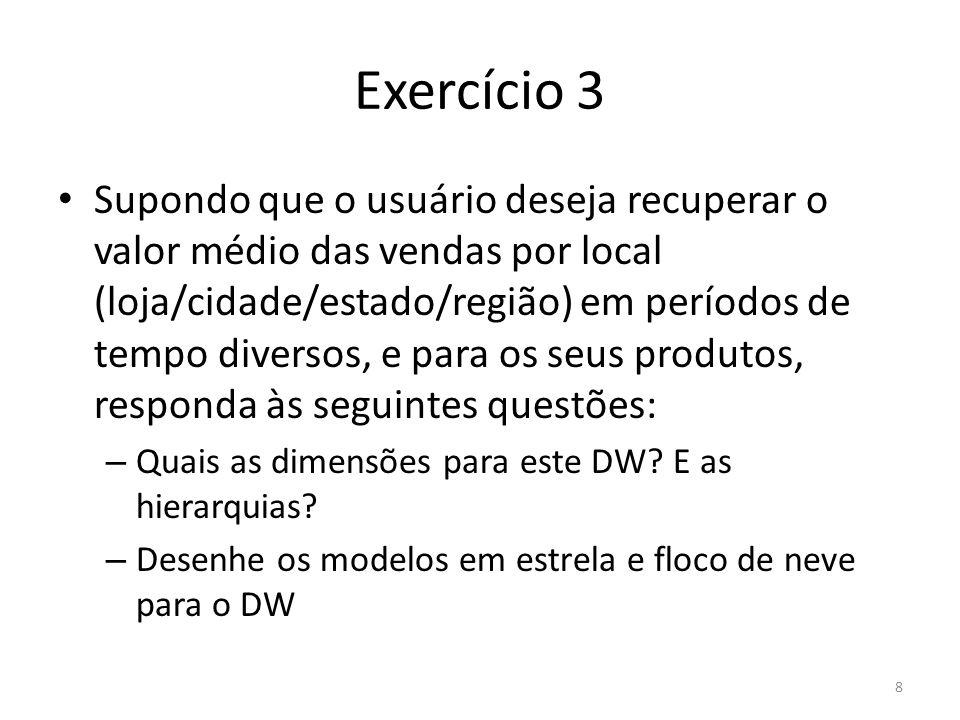 Exercício 3 Supondo que o usuário deseja recuperar o valor médio das vendas por local (loja/cidade/estado/região) em períodos de tempo diversos, e par