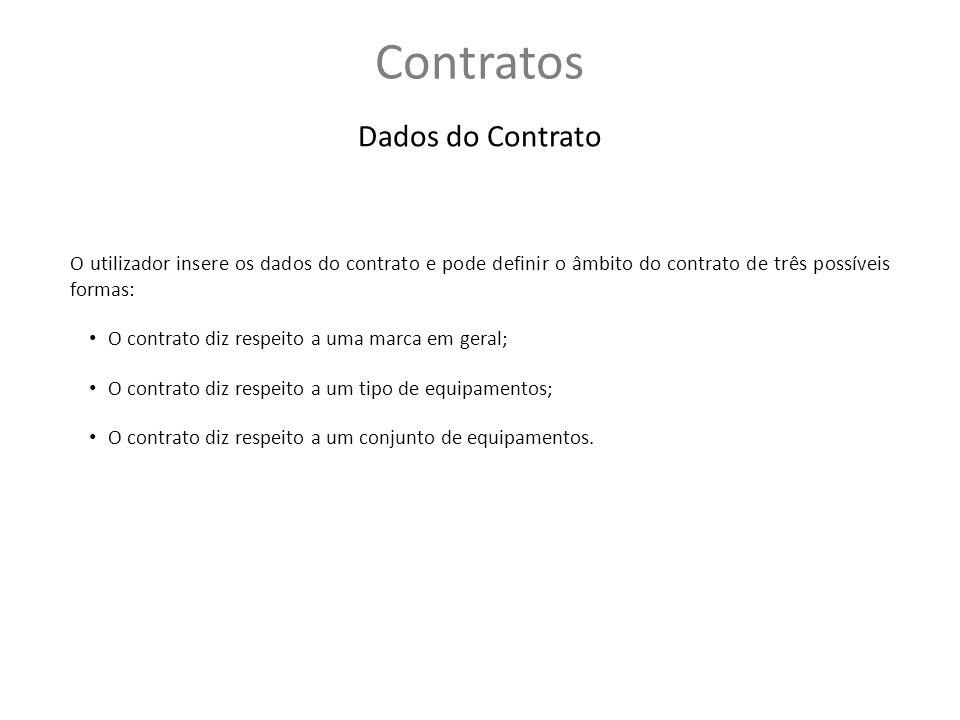 Dados do Contrato O utilizador insere os dados do contrato e pode definir o âmbito do contrato de três possíveis formas: O contrato diz respeito a uma marca em geral; O contrato diz respeito a um tipo de equipamentos; O contrato diz respeito a um conjunto de equipamentos.