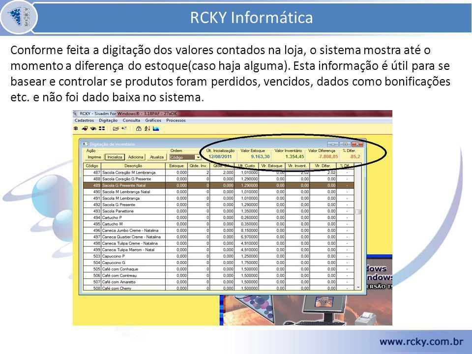 Conforme feita a digitação dos valores contados na loja, o sistema mostra até o momento a diferença do estoque(caso haja alguma).