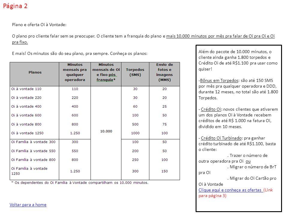 Página 3 Conheça as ofertas Oi à Vontade: Regras dos Planos Oi à Vontade, Oferta 1.800 Torpedos e Ofertas de Crédito:.