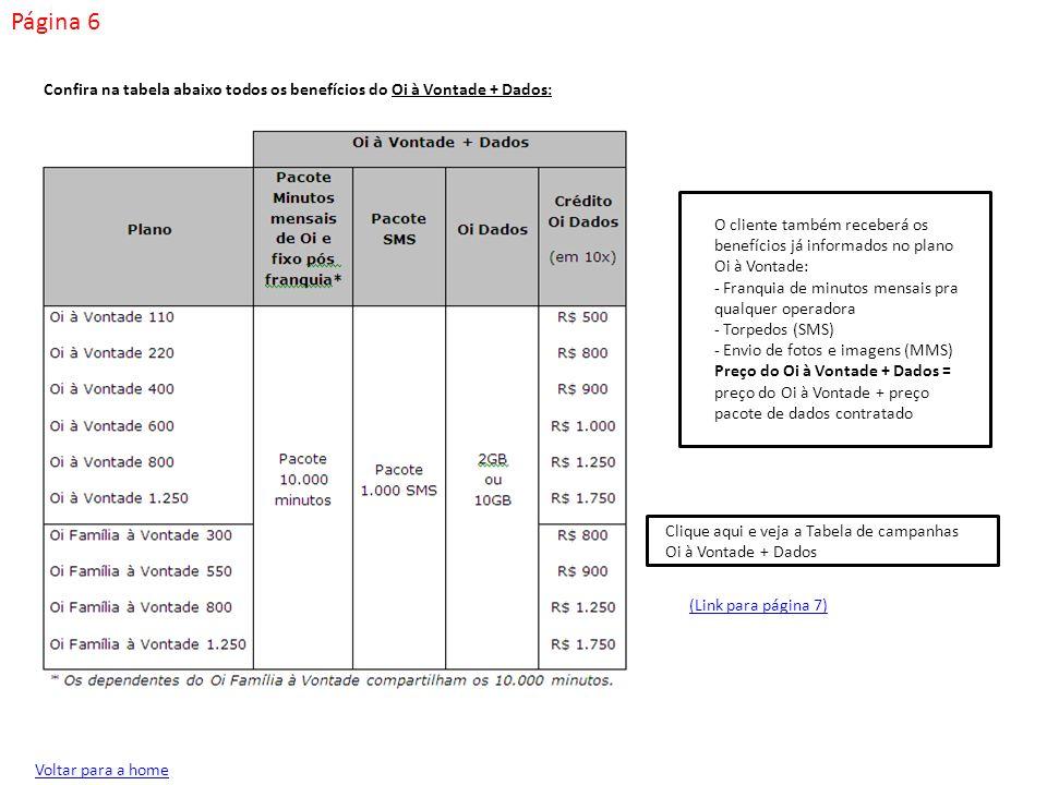 Página 7 Confira na tabela abaixo as campanhas Oi à Vontade + Dados: Voltar para a home