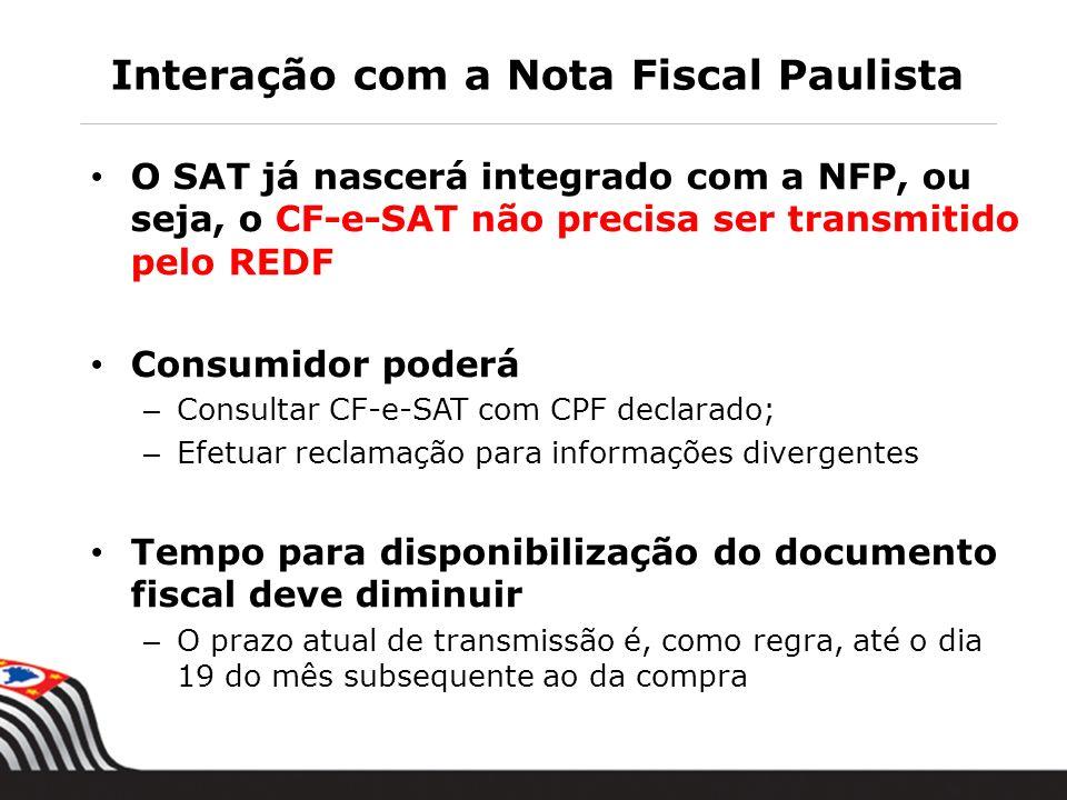Interação com a Nota Fiscal Paulista O SAT já nascerá integrado com a NFP, ou seja, o CF-e-SAT não precisa ser transmitido pelo REDF Consumidor poderá