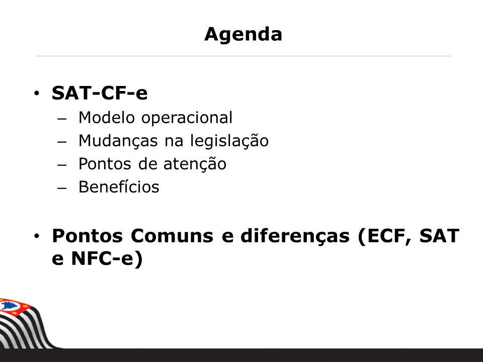 Agenda SAT-CF-e – Modelo operacional – Mudanças na legislação – Pontos de atenção – Benefícios Pontos Comuns e diferenças (ECF, SAT e NFC-e)