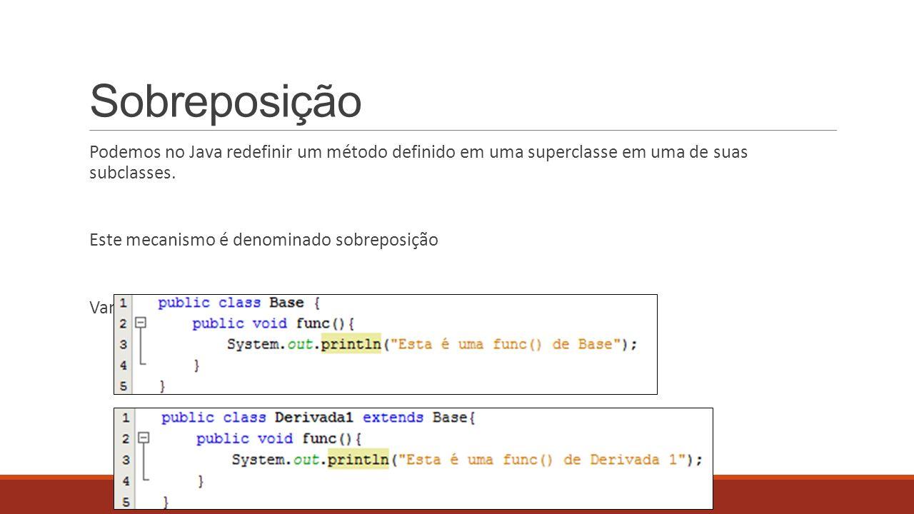 Sobreposição Podemos no Java redefinir um método definido em uma superclasse em uma de suas subclasses. Este mecanismo é denominado sobreposição Vamos