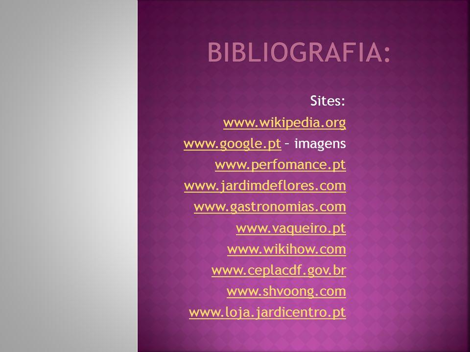 Sites: www.wikipedia.org www.google.ptwww.google.pt – imagens www.perfomance.pt www.jardimdeflores.com www.gastronomias.com www.vaqueiro.pt www.wikihow.com www.ceplacdf.gov.br www.shvoong.com www.loja.jardicentro.pt