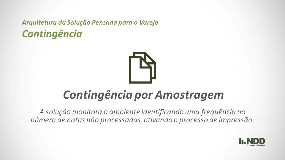 Contingência por Amostragem A solução monitora o ambiente identificando uma frequência no número de notas não processadas, ativando o processo de impressão.