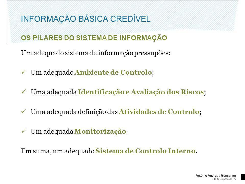 INFORMAÇÃO BÁSICA CREDÍVEL OS PILARES DO SISTEMA DE INFORMAÇÃO Um adequado sistema de informação pressupões: Um adequado Ambiente de Controlo; Uma ade