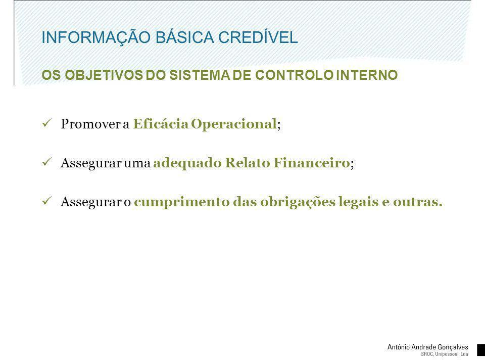 INFORMAÇÃO BÁSICA CREDÍVEL OS OBJETIVOS DO SISTEMA DE CONTROLO INTERNO Promover a Eficácia Operacional; Assegurar uma adequado Relato Financeiro; Asse