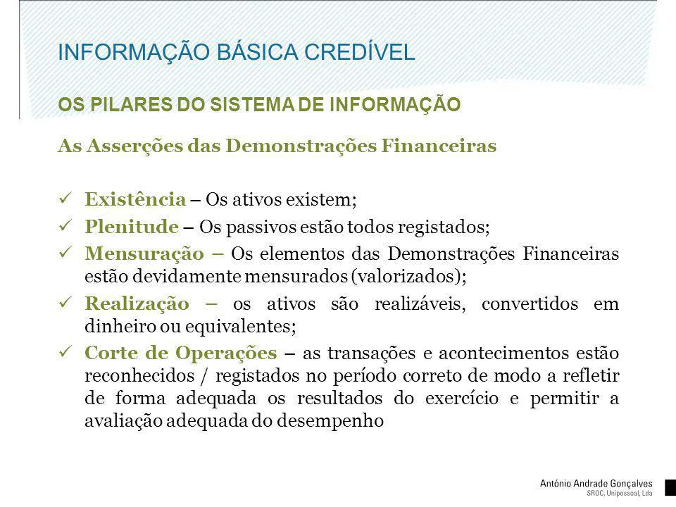 INFORMAÇÃO BÁSICA CREDÍVEL OS PILARES DO SISTEMA DE INFORMAÇÃO As Asserções das Demonstrações Financeiras Existência – Os ativos existem; Plenitude –