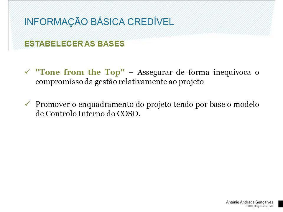 INFORMAÇÃO BÁSICA CREDÍVEL ESTABELECER AS BASES