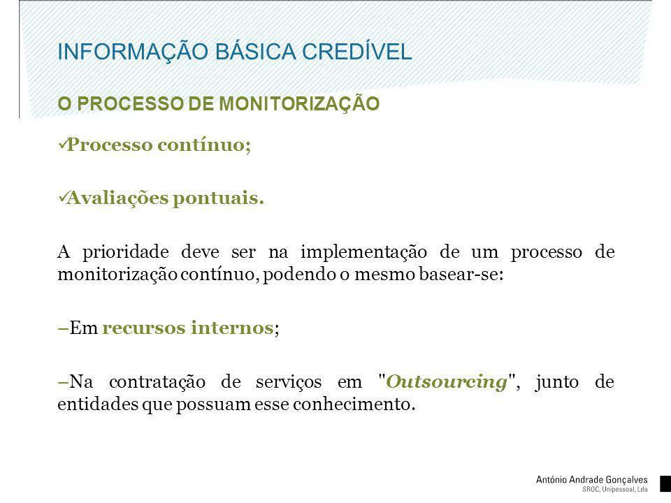 INFORMAÇÃO BÁSICA CREDÍVEL O PROCESSO DE MONITORIZAÇÃO Processo contínuo; Avaliações pontuais. A prioridade deve ser na implementação de um processo d