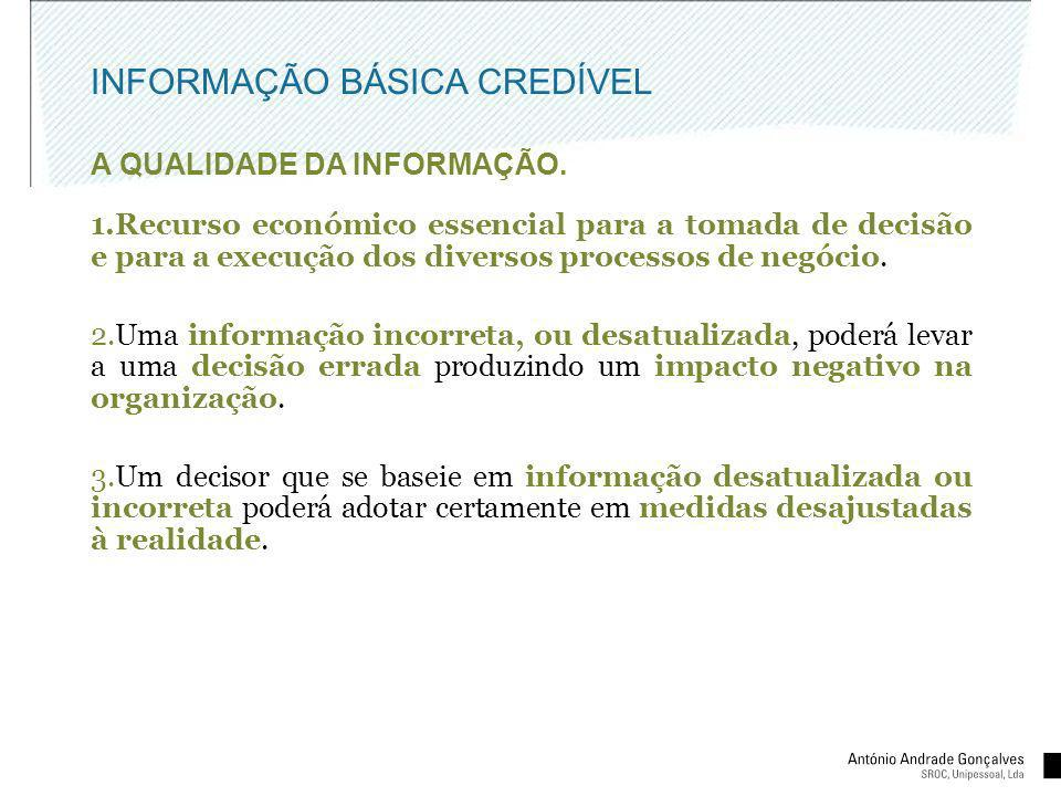 INFORMAÇÃO BÁSICA CREDÍVEL A QUALIDADE DA INFORMAÇÃO. 1.Recurso económico essencial para a tomada de decisão e para a execução dos diversos processos