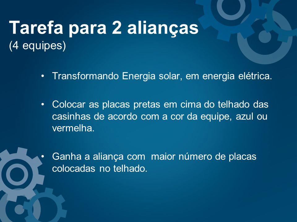 Tarefa para 2 alianças (4 equipes) Transformando Energia solar, em energia elétrica. Colocar as placas pretas em cima do telhado das casinhas de acord