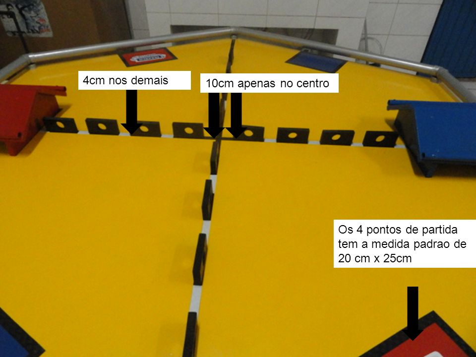 4cm nos demais 10cm apenas no centro Os 4 pontos de partida tem a medida padrao de 20 cm x 25cm