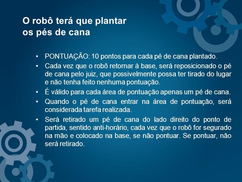 O robô terá que plantar os pés de cana PONTUAÇÃO: 10 pontos para cada pé de cana plantado. Cada vez que o robô retornar à base, será reposicionado o p