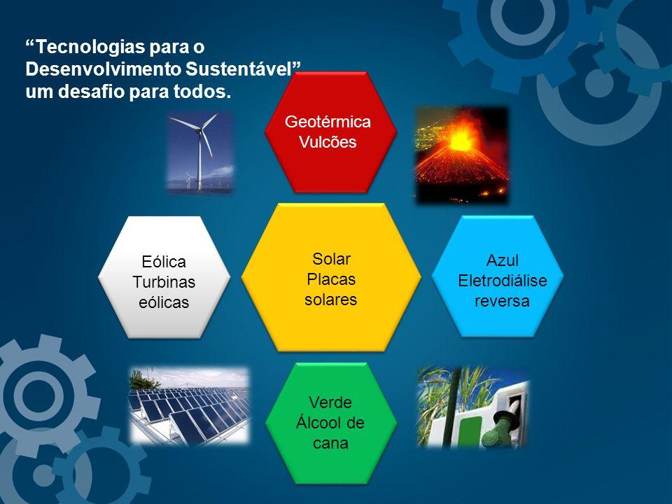 Tecnologias para o Desenvolvimento Sustentável. um desafio para todos. Solar Placas solares Azul Eletrodiálise reversa Geotérmica Vulcões Verde Álcool