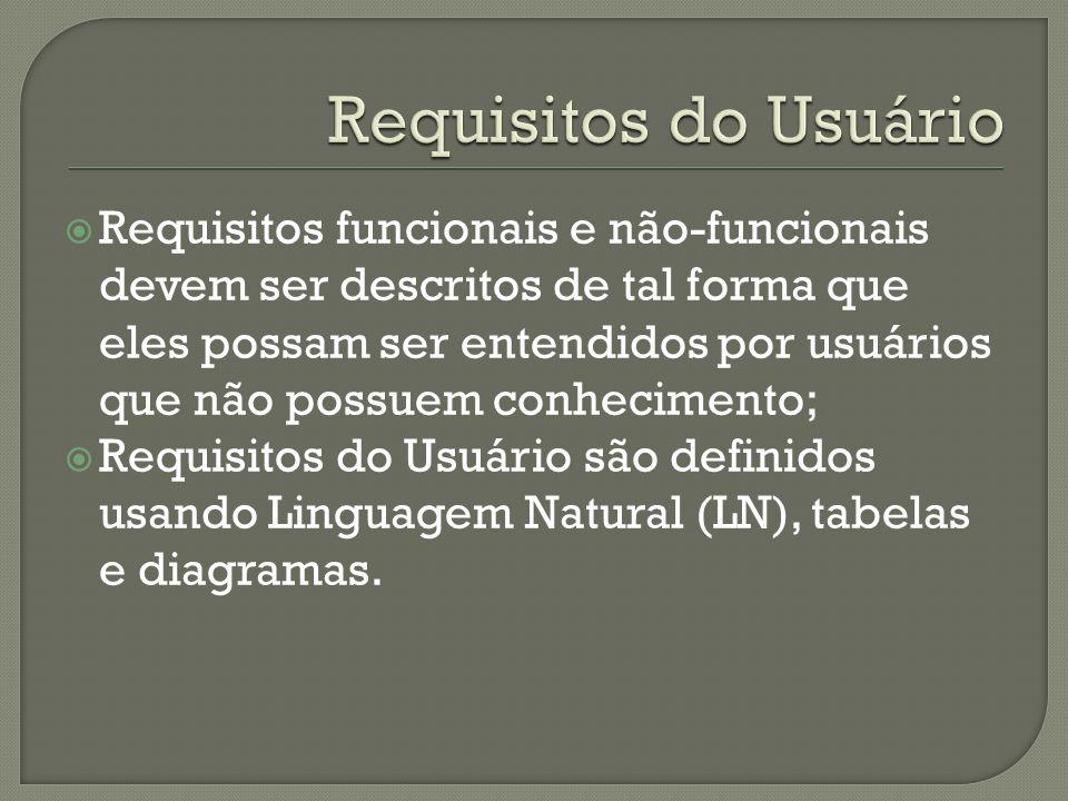 Requisitos funcionais e não-funcionais devem ser descritos de tal forma que eles possam ser entendidos por usuários que não possuem conhecimento; Requisitos do Usuário são definidos usando Linguagem Natural (LN), tabelas e diagramas.