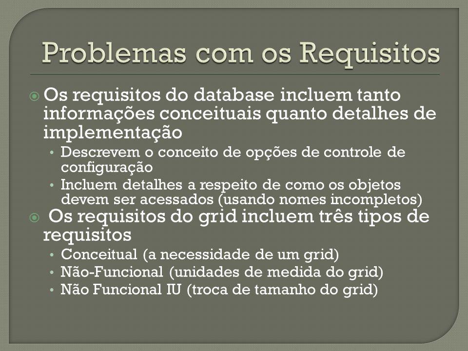 Os requisitos do database incluem tanto informações conceituais quanto detalhes de implementação Descrevem o conceito de opções de controle de configuração Incluem detalhes a respeito de como os objetos devem ser acessados (usando nomes incompletos) Os requisitos do grid incluem três tipos de requisitos Conceitual (a necessidade de um grid) Não-Funcional (unidades de medida do grid) Não Funcional IU (troca de tamanho do grid)