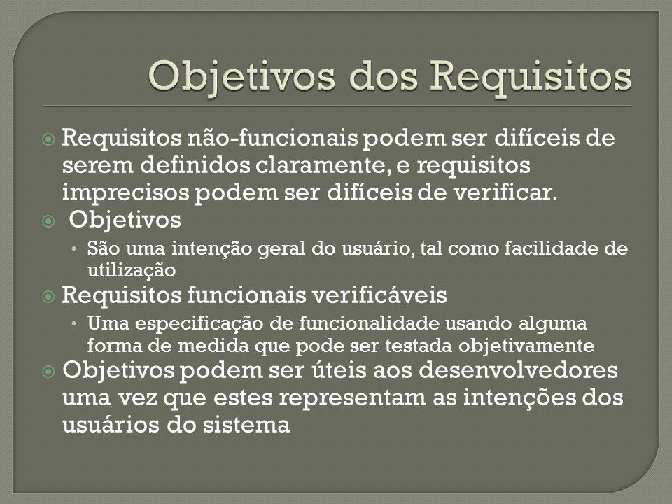 Requisitos não-funcionais podem ser difíceis de serem definidos claramente, e requisitos imprecisos podem ser difíceis de verificar.