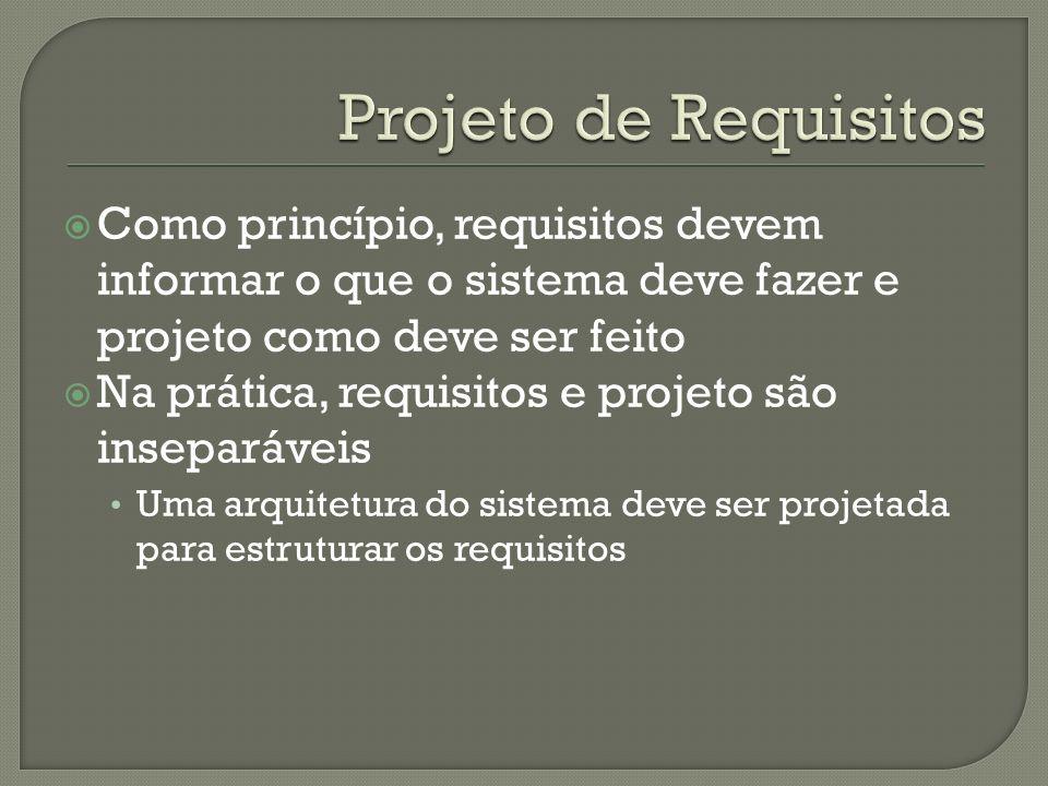 Como princípio, requisitos devem informar o que o sistema deve fazer e projeto como deve ser feito Na prática, requisitos e projeto são inseparáveis Uma arquitetura do sistema deve ser projetada para estruturar os requisitos