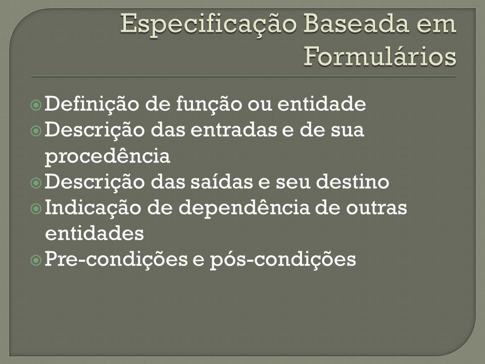 Definição de função ou entidade Descrição das entradas e de sua procedência Descrição das saídas e seu destino Indicação de dependência de outras entidades Pre-condições e pós-condições