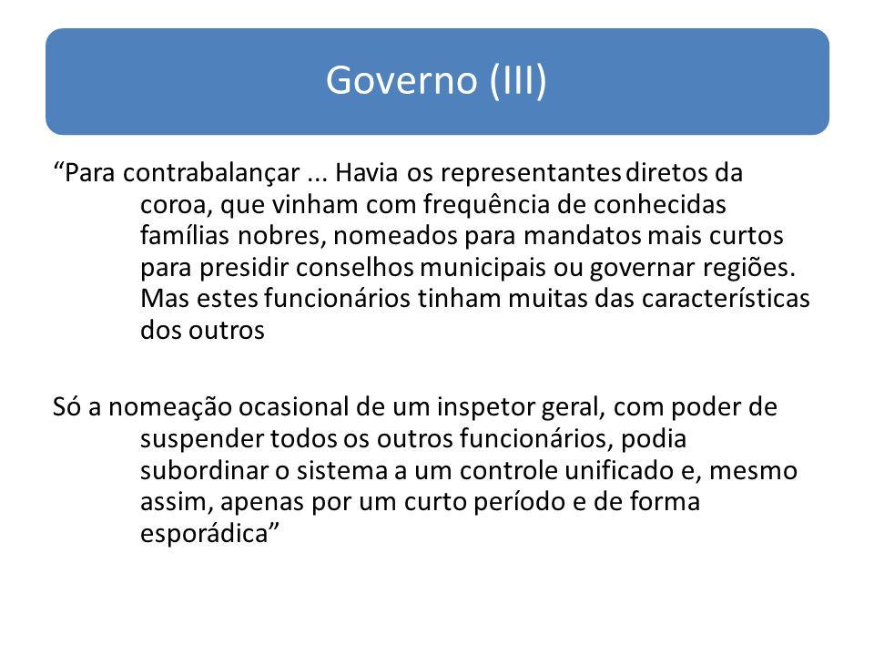 Governo (III) Para contrabalançar...