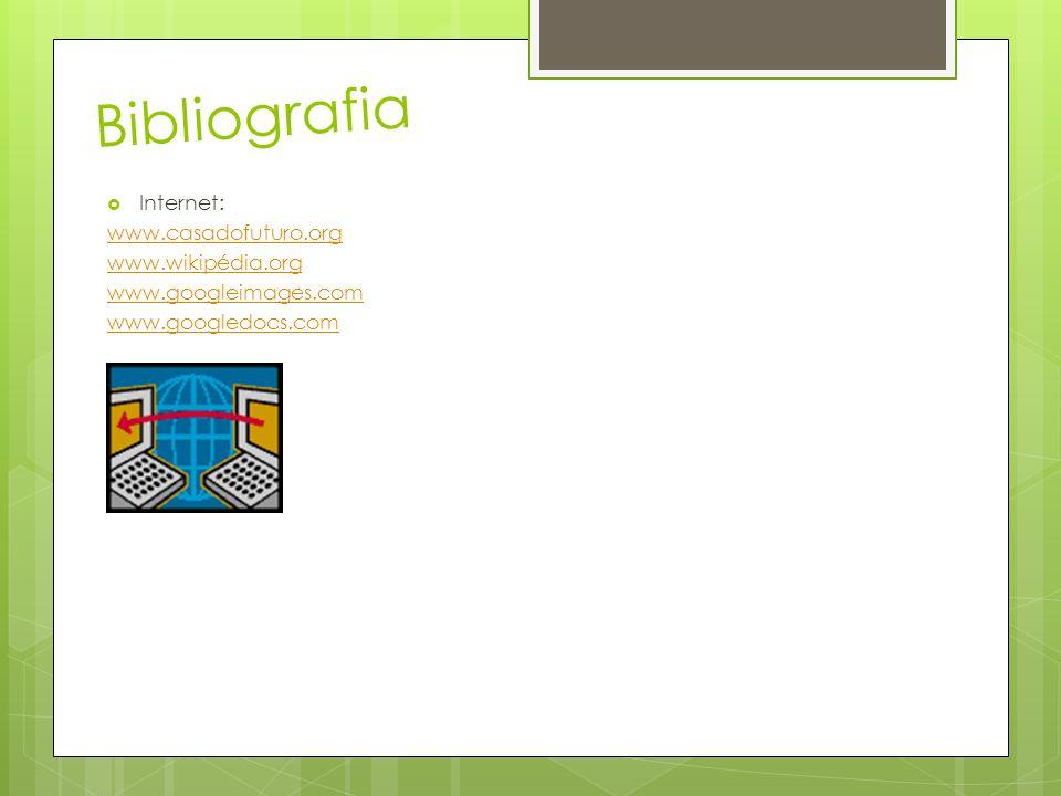 Bibliografia Internet: www.casadofuturo.org www.wikipédia.org www.googleimages.com www.googledocs.com